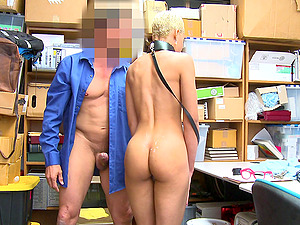 Blonde Arie Faye has to bang with a security guard in the office