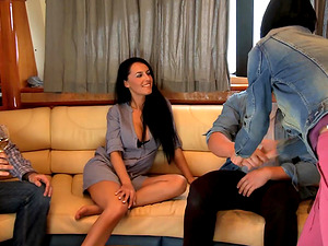 Smoking hot Abbie Cat moans while a horny guy fucks her roughly