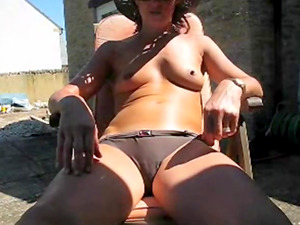 British mature masturbating in backyard