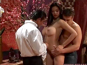 Tera Patrick the horny black-haired honey getting threesomed