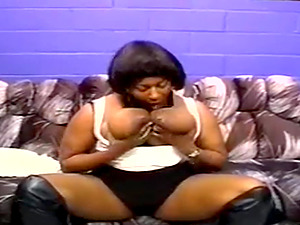 One Sexy Ebony Double Penetrated By Her Big Cock Clients