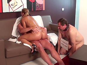 Dominant Ladies fucks with real men in front of cuckolds.