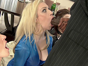 Big black cock is enough to please Lissa Love and other girls at once