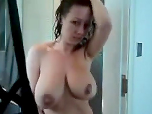 Hot brunette masturbating and dirty talk after shower
