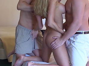 NaughtyAllie totally gets her pussy slammed by two hard cocks