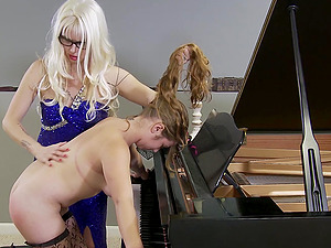 Blonde mistress wants to punish her naughty friend with different toys
