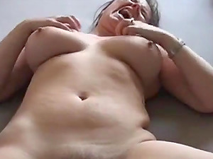 Nasty wife masturbates and fucked her shaved pussy