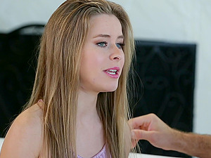 Young babe Lilly Ford finally agrees to ride a dick on the couch