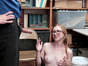 Slim Gracie May Green has to fuck with a naughty security guard