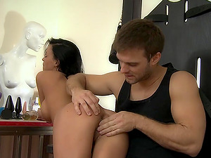 He uses his fingers and favorite toys to stimulate her pussy
