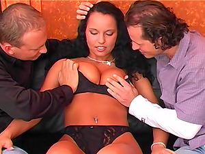 Double penetration and cum shots for a tight MILF brunette Laura Lion