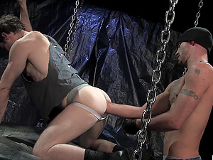 Mature gat couple in a kinky fisting session in the dungeon