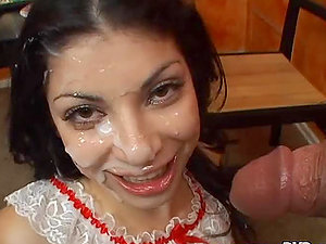 Nasty nymph Soma deep throats two big dicks and gets a mass ejaculation