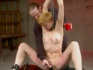 Tied up hottie gets her tiny cunt punished with sex toys