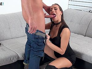 Mea Melone's ass is covered in sperm after fucking a newbie
