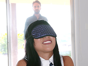 Big load of fat dick surprises blindfolded babe Ember Snow