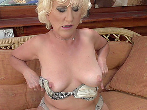 Amateur mature short haired granny Petunia fingers herself