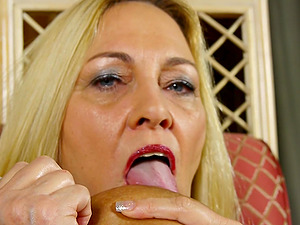 Busty blonde mature amateur MILF Cala gets her pussy all wet
