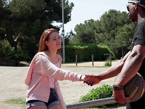 Riding a hard cock outdoors makes redhead girl Shelley Bliss happy