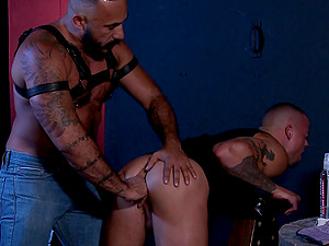 BDSM gay torture with buttplug and big dick anal penetration