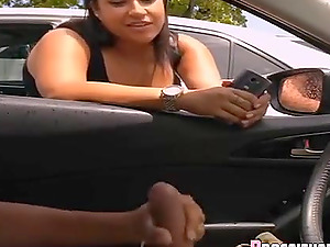 Handjob surprise compilation flash in car