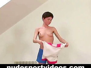 Totally Naked Woman Doing Corporal Excercise.