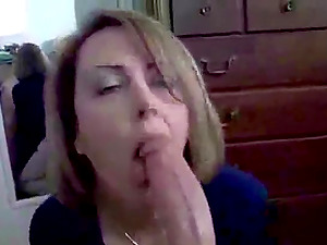 Horny wife takes his dick in her mouth deep and gets cum load