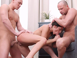 Young Kerry Cherry Ass Fucked by 2 Guys