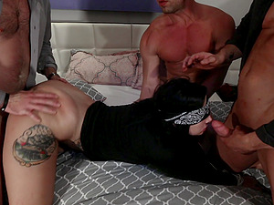 Tattooed Stella Raee pussy gets brutally fucked by four guys