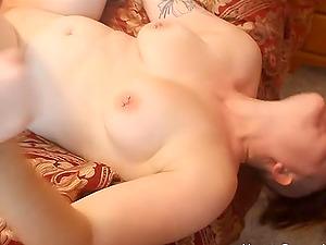 Chubby amateur slut gangbanged by three cocks