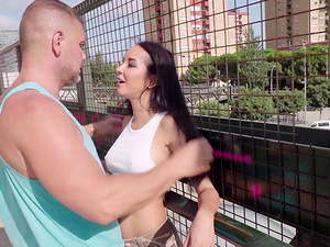 Francys Belle enjoys outdoor teasing and getting her feet covered in sperm