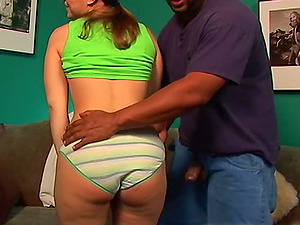 Interracial action with Katie Thomas ends with a facial