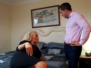 Cheating blonde British wife Rebecca fucks in a hotel room