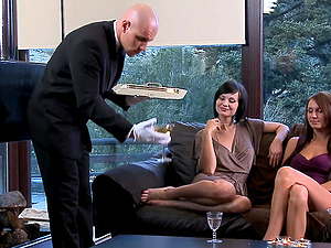 Two dudes versus one cock hungry babe Aleska Diamond