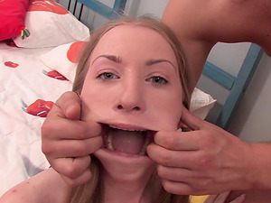 Barely legal Heaven gets her pretty face fucked hard