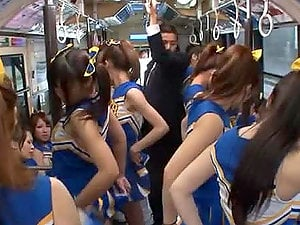 Crazy Japanese Fuck Jamboree in Public Bus with Hot Cheerleaders