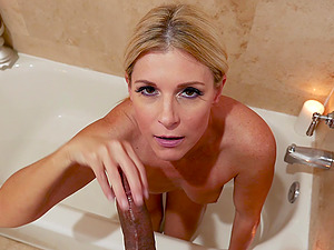 Stunning blonde MILF India Summer swallows every last drop