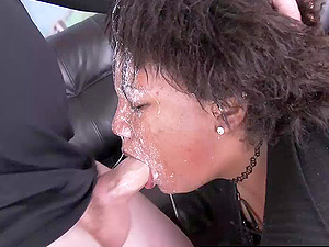 This chubby whore gets her ass and throat pound