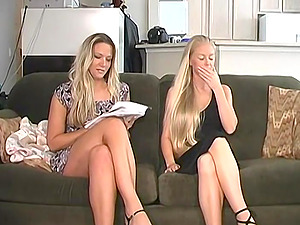 Hot blonde wife finds her husband another hot blonde to share!