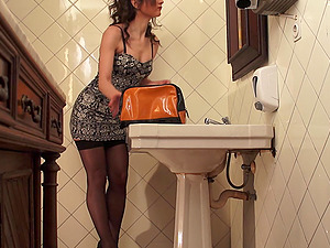 Spaniard Squirting In Public Toilet