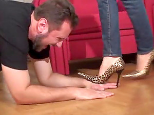 Fetish ladies order guys to clean their shoes