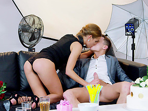 Submissive blonde Alexis Crystal fucked on a leash after the party