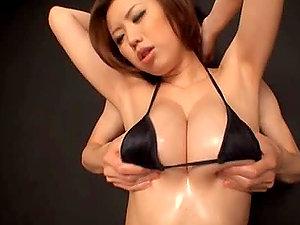 Shinobu Mitsuki gets her assets oiled and has astonishing multiposition bang-out