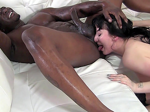 Charlotte Goth stuffs her throat and pussy with a huge black cock
