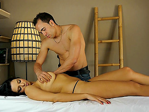 Gorgeous Latina babe Kira Queen massaged and pounded doggy style