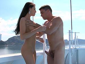 Slender MILF brunette Kortney Kane rides cock on a yacht