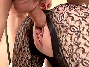 Charlotte inhales a big shaft and gets her clean-shaven labia pounded