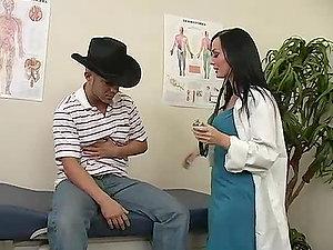 Sexy doc Melissa Lauren cures her patient KJ and rails his dick