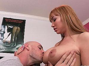 Buxomy Beauty Tongues up a Hard Dick Like a Nasty Whore
