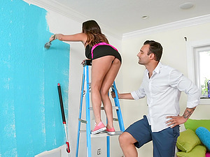 Busty petite MILF Christiana Cinn pounded while painting her place